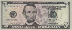 A $5 bill