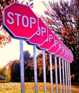 A row of stop signs