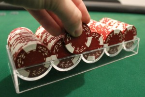 Using a chip rack to count poker chips