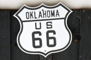 A US-66 sign.