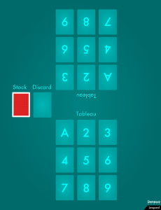 An example diagram showing the layout of the card game Leopard.