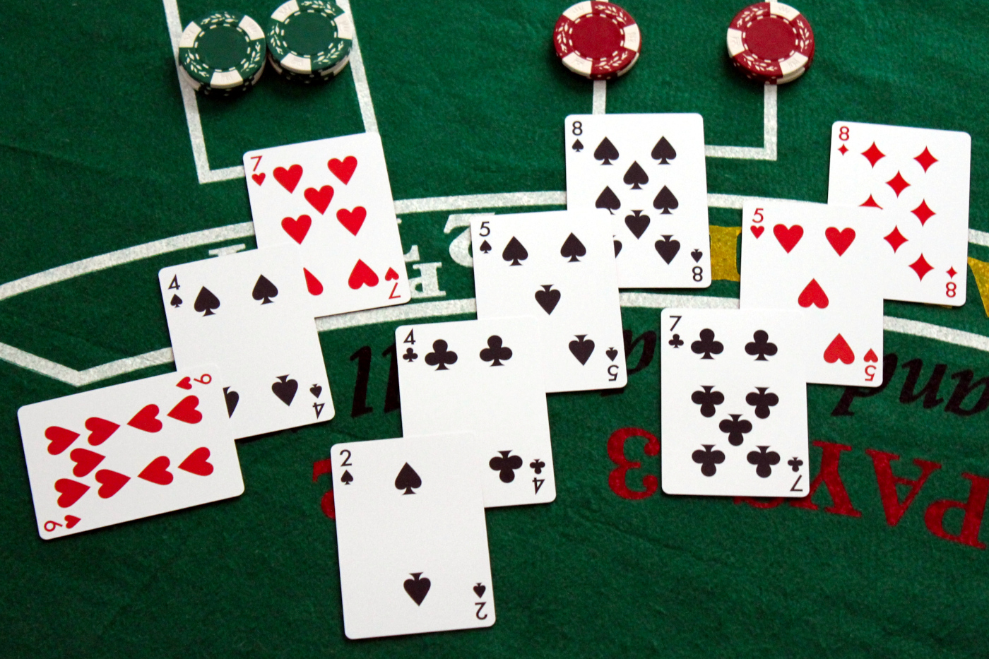 Playing cards being used to play blackjack