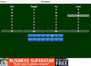 A screenshot of ScoreKeeper Free