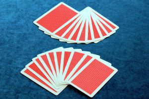 Two ten-card hands of playing cards