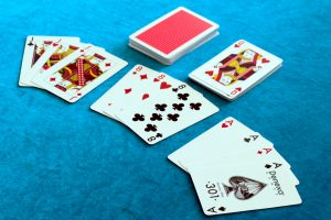 A hand of Gin Rummy, divided into melds.